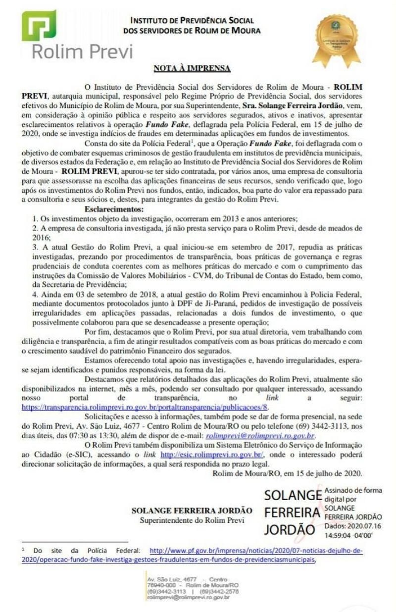 Rolim Previ envia nota à imprensa após operação da Polícia Federal em Rolim de Moura