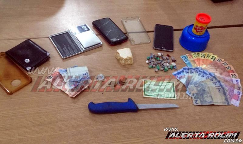 Suspeitos de tráfico são presos pela PM, em Rolim de Moura; drogas, dinheiro e produtos de procedência duvidosa foram apreendidos