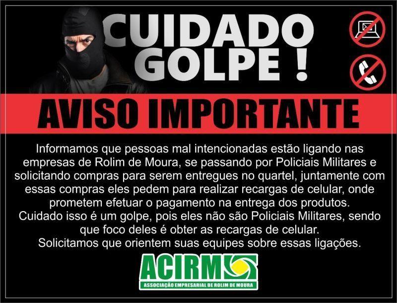 Criminosos estão se passando por policiais militares e aplicando golpes em comércio de Rolim de Moura, informa ACIRM