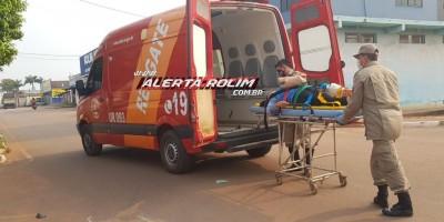 Mulher sofre fratura em uma das pernas em acidente de trânsito na Avenida Norte Sul, em Rolim de Moura