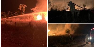 Bombeiros combatem incêndio que já dura dois dias na RO-010 em Pimenta Bueno, vídeo
