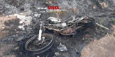 Moto pega fogo enquanto condutor transitava pela RO-135, em Alta Floresta