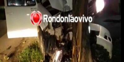 Motorista de Hilux tenta fugir da PM, atropela ciclista e bate em árvore, em RO