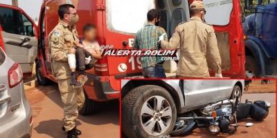 Pai e filho são socorridos pelos bombeiros após acidente de trânsito no Bairro Cidade Alta, em Rolim de Moura