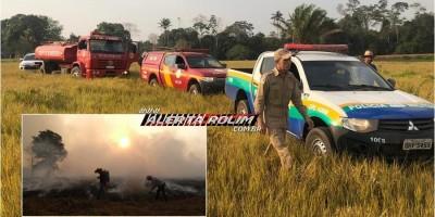 PM, BM e moradores controlam incêndio que destruiu vários alqueires de pastagem na área rural de Nova Estrela