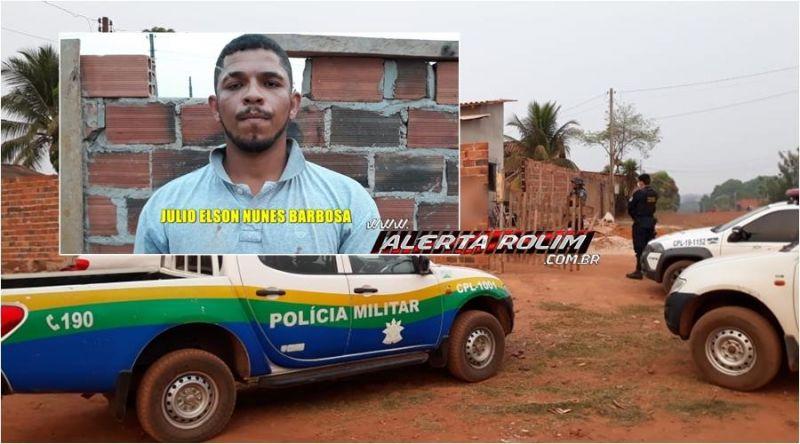 Suspeito de tráfico de drogas é preso pela Polícia Militar e Polícia Civil, no Bairro Beira Rio, em Rolim de Moura