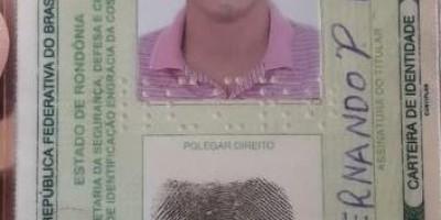 Documento encontrado em nome de Luiz Fernando P. da Silva, em Rolim de Moura