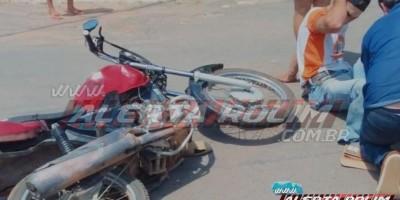 Motociclista é socorrido com suspeita de fratura na perna em Novo Horizonte do Oeste
