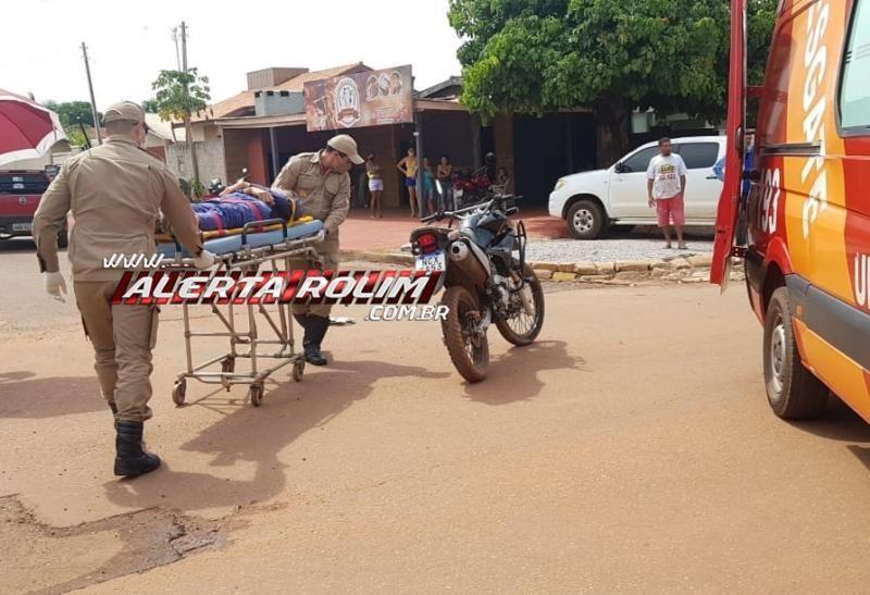 Acidente de trânsito entre carro e moto é registrado nesta tarde de quinta-feira, em Rolim de Moura