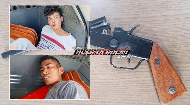 Após a prática de dois roubos em sequência, bandidos armados são capturados por populares até a chegada da Polícia Militar - Vídeo