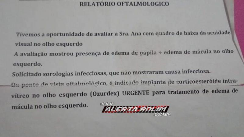 URGENTE - Ex-moradora de Rolim de Moura/RO precisa com urgência de ajuda para custear tratamento para grave problema de visão