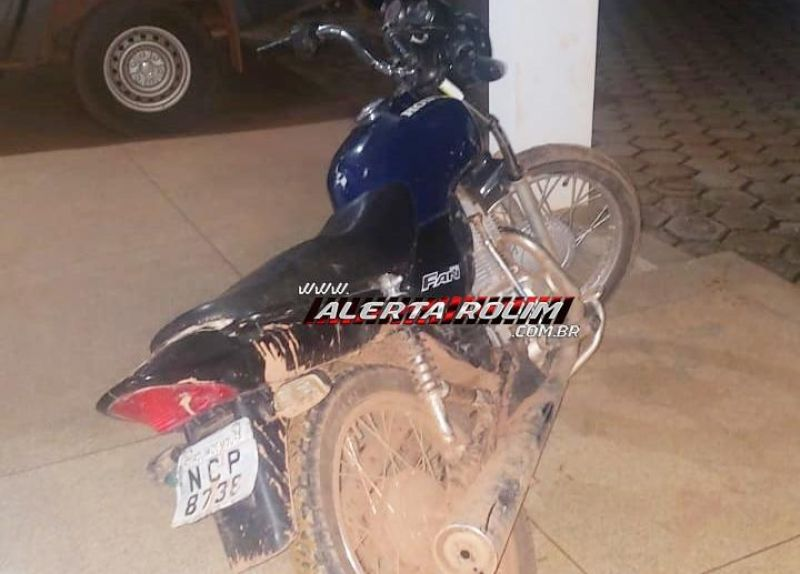 Motocicleta furtada é recuperada pela Polícia Militar do 10º Batalhão, em Rolim de Moura
