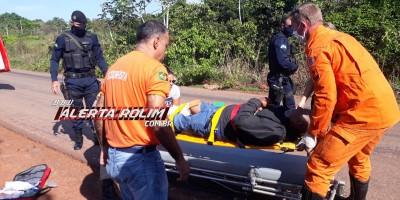 Motociclista sofre fratura exposta no pé após sofrer queda na RO-383, em Cacoal