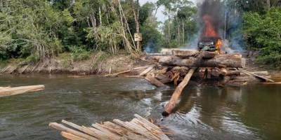 PF destrói equipamentos e implode ponte para barrar extração de madeira e diamante em terras indígenas de RO; vídeo