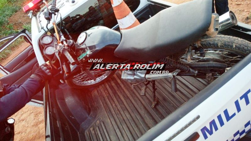 Moto furtada na área rural de Rolim de Moura é recuperada pela PM em Nova Brasilândia do Oeste