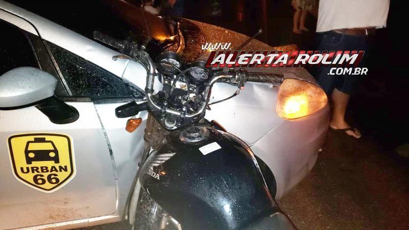 Motociclista embriagado e sem CNH colide em lateral de carro que avançou a via, em Rolim de Moura