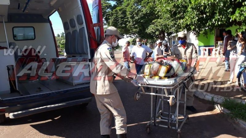 Motociclista sofre fratura exposta em um dos pés após colisão no Bairro Planalto, em Rolim de Moura