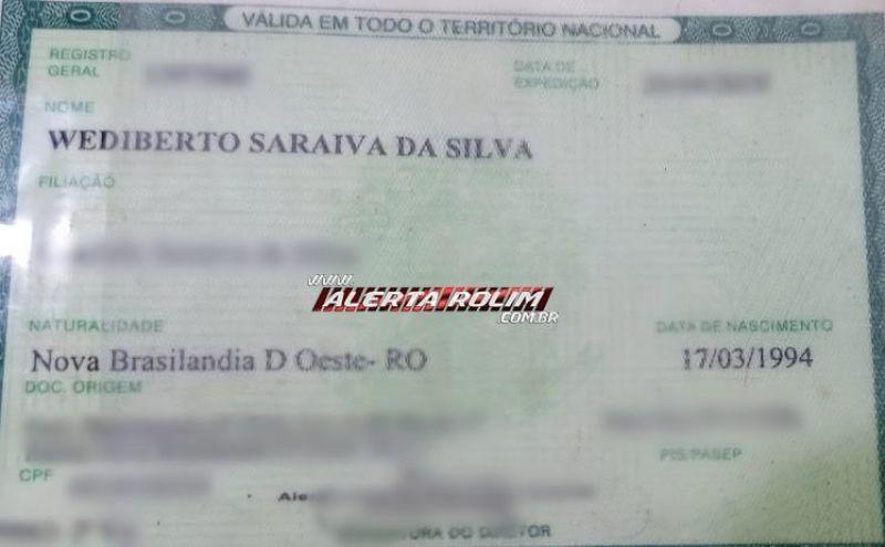 Documentos encontrados em nome de Wediberto Saraiva da Silva, em Rolim de Moura
