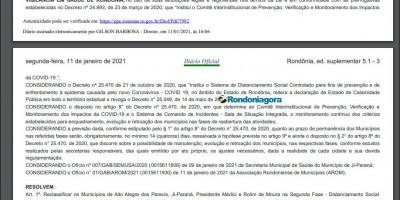 Governo cede e reclassifica Rolim de Moura e mais três municípios para a fase 2