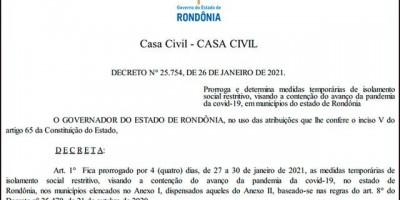 Governo mantém medidas de isolamento e toque de recolher até sábado em Rondônia