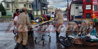 Mototaxista e passageira ficam feridos em acidente de trânsito na tarde desta sexta-feira, em Rolim de Moura