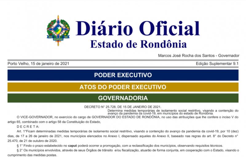Rolim de Moura e outras cidades terão toque de recolher a partir do novo decreto do Governo do Estado