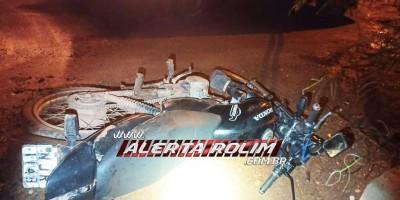 Após efetuar roubo de moto, bandido sofre queda durante a fuga e deixa para trás veículo usado na pratica do crime, em Rolim de Moura
