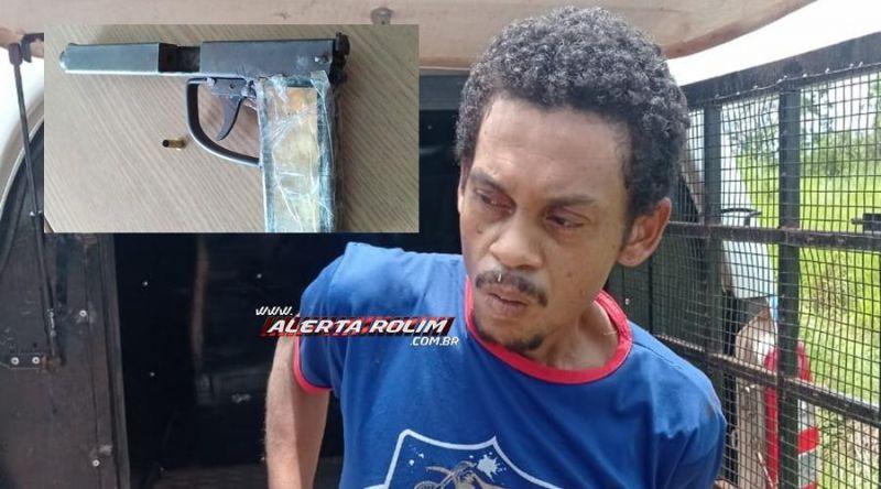 Homem apontado como suspeito no envolvimento de vários roubos é preso pela PM com arma de fogo em Rolim de Moura