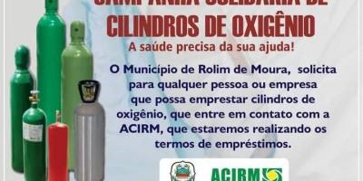 Acirm encampa campanha para doação de cilindros de oxigênio ao hospital municipal de Rolim de Moura