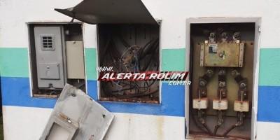 Bandidos causam interrupção no fornecimento de água em Rolim de Moura, após furtarem cerca de 150 metros de cabos de energia