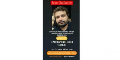 Familiares promovem campanha para custear o tratamento de Jean Guilande, que está internado em estado grave em Porto Velho