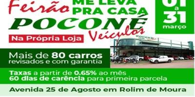 Feirão com mais de 80 carros revisados na POCONÉ VEÍCULOS em Rolim de Moura - Vídeo