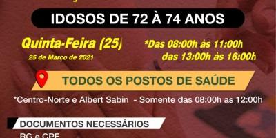 Rolim de Moura inicia vacinação de idosos entre 72 e 74 anos contra a Covid-19 nesta quinta-feira (25)