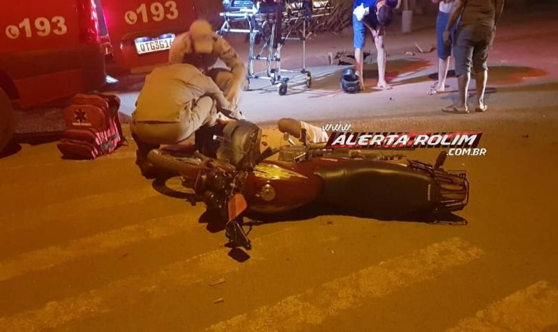 Ciclista é socorrido pelos bombeiros com fratura na perna após acidente com motociclista em Rolim de Moura