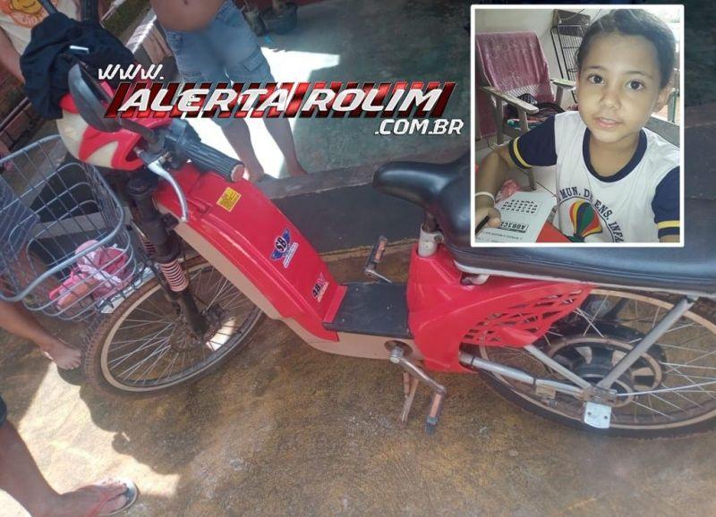 Criança de 07 anos, que sofreu acidente com bicicleta elétrica em Rolim de Moura, não resistiu e morreu após 10 dias de internação