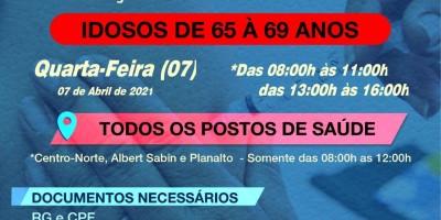Rolim de Moura inicia vacinação de idosos entre 65 e 69 anos contra a Covid-19 nesta quarta-feira (07)