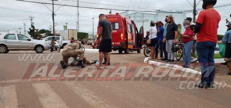 Acidente de trânsito com vítima é registrado no Centro de Rolim de Moura nesta tarde de quinta-feira