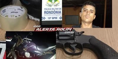 Homem é preso pela PM com arma de fogo em Rolim de Moura; uma moto roubada também foi apreendida