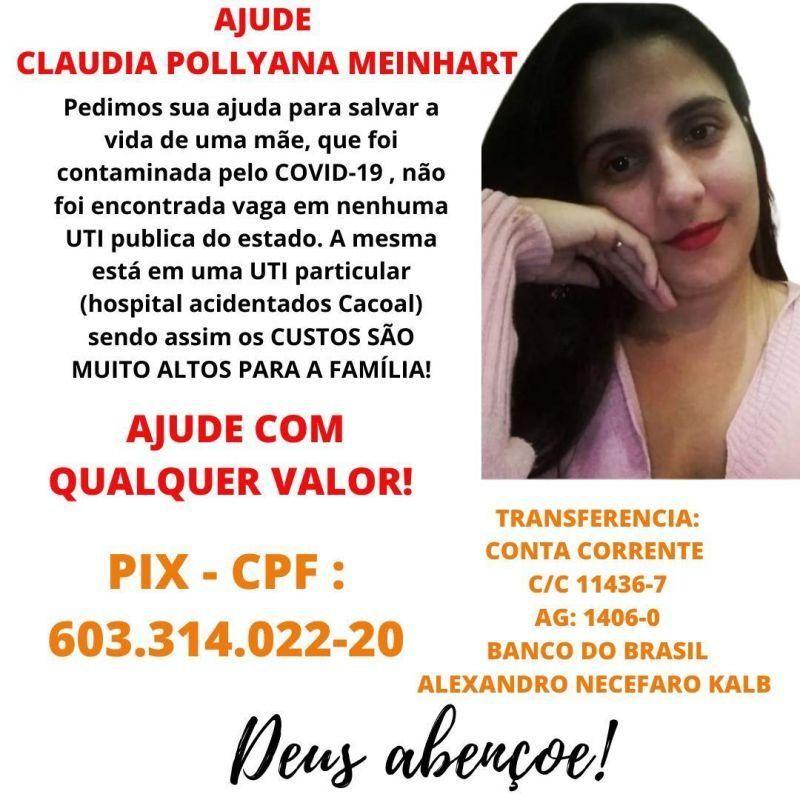 Rolimourense Claudia Pollyana segue internada e familiares vão realizar leilão para custear despesas