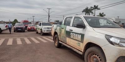 Semmaddu realiza carreata para alertar população de Rolim de Moura sobre proibição de queimadas