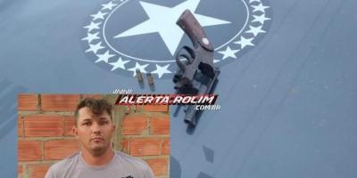 Suspeito de roubos é preso com arma de fogo pela equipe do PATAMO da PM em Rolim de Moura