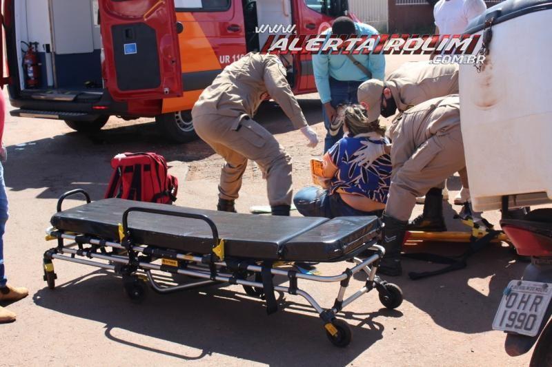 Mulher fratura braço após ser atingida por caminhão em Rolim de Moura