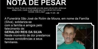 Nota de pesar – Geraldo Reis da Silva