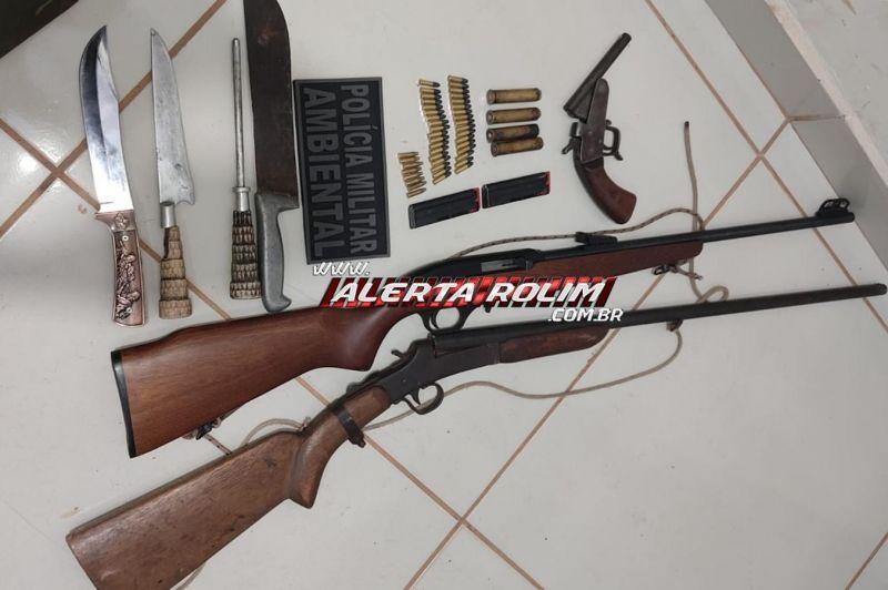 Armas de fogo e munições foram apreendidas pela Polícia Militar Ambiental na área rural de São Francisco do Guaporé