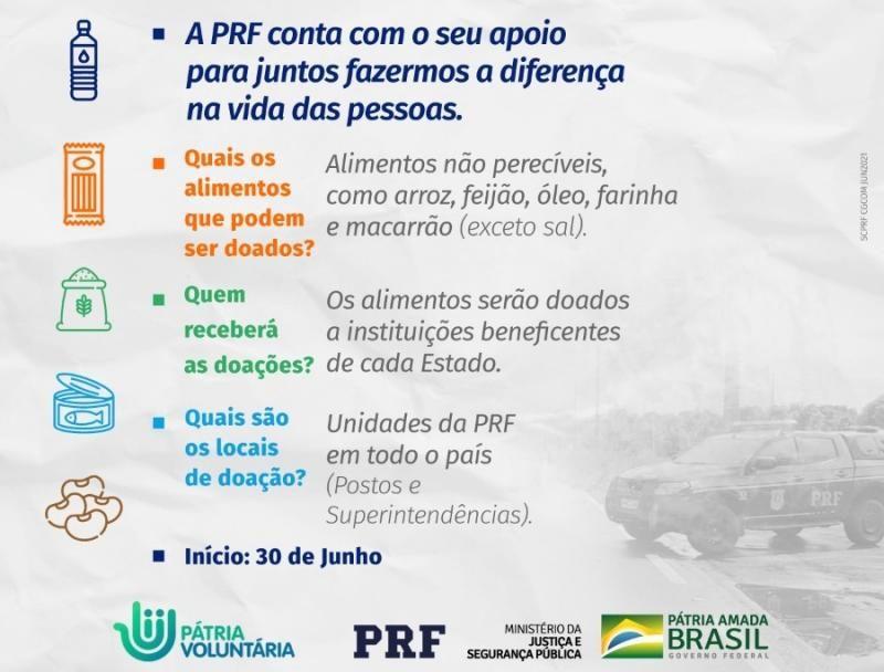 Campanha ESTRADA SOLIDÁRIA é promovida pela PRF com o objetivo de arrecadar alimentos em todo o País