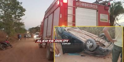 Carro ocupado por 03 pessoas capota na zona rural de Rolim de Moura