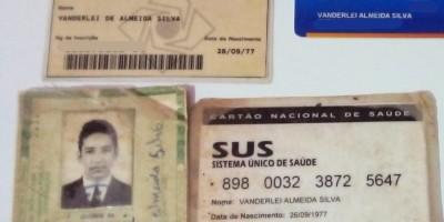 Documentos encontrados em nome de Vanderlei Almeida Silva, em Rolim de Moura