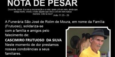 Nota de Pesar - Cascimiro Frutuoso da Silva