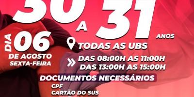 Vacina para pessoas com 30 a 31 anos será dia 06 de Agosto em Rolim de Moura