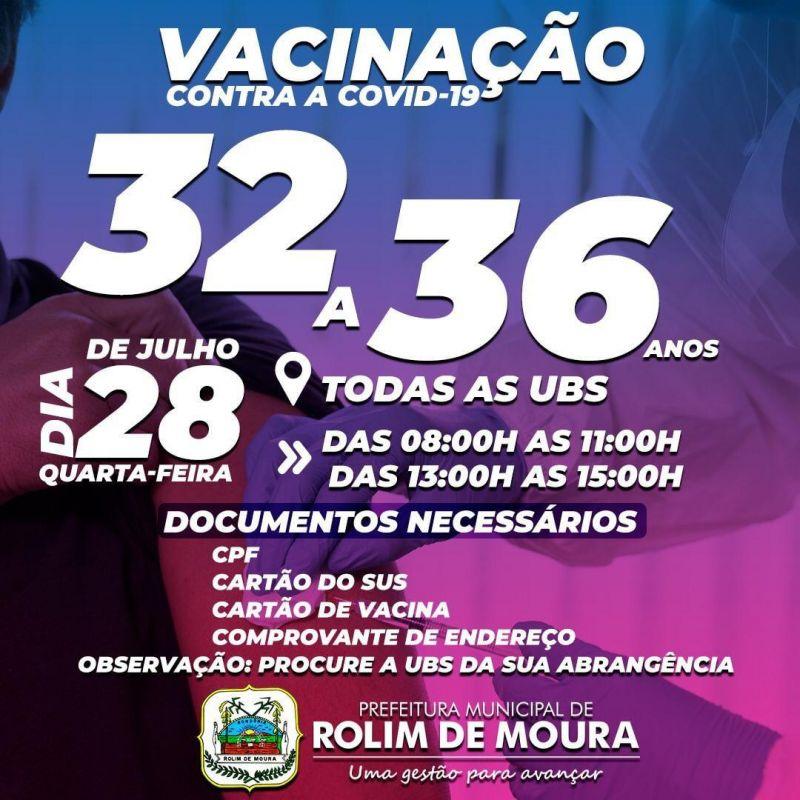 Vacina para pessoas com 32 a 36 anos será na próxima quarta-feira (28) em Rolim de Moura